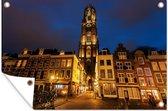 De Domtoren in Utrecht bij nacht Tuinposter 180x120 cm - Tuindoek / Buitencanvas / Schilderijen voor buiten (tuin decoratie) XXL / Groot formaat!