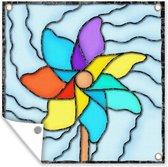 Een illustratie van een windmolen in gekleurd glas tuinposter 50x50 cm - klein - Tuindoek / Buitencanvas / Schilderijen voor buiten (tuin decoratie)