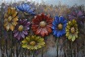 3D art Metaalschilderij - schilderij bloemen - wanddecoratie - 120 x 80 - woonkamer slaapkamer