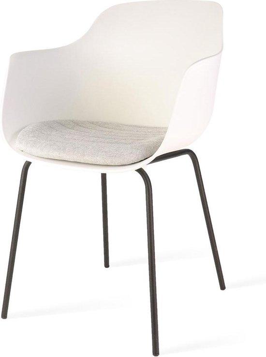 Nolon Nora eetkamerstoel met zitkussen Armleuning Zwart metalen onderstel Wit