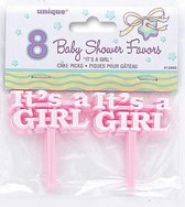 Unique Geboorteprikkers It's A Girl Meisjes 6 Cm Roze 8 Stuks