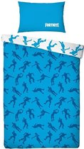 Afbeelding van Fortnite Emotes Dekbedovertrek - Eenpersoons - 140 x 200 cm - Blauw/wit