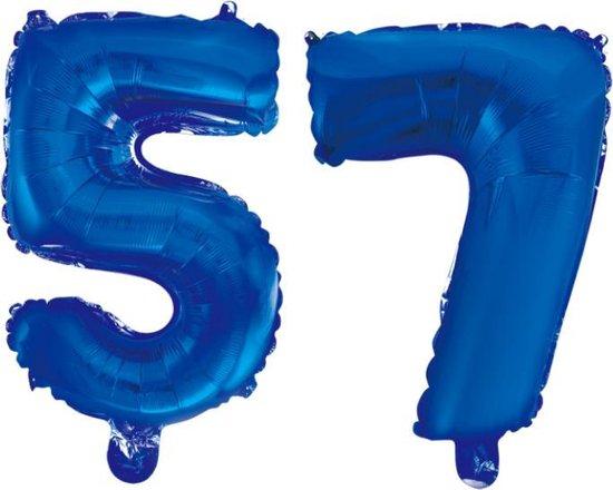Folieballon 57 jaar blauw 86cm