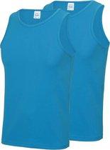 2-Pack Maat L - Sport singlets/hemden blauw voor heren - Hardloopshirts/sportshirts - Sporten/hardlopen/fitness/bodybuilding - Sportkleding top blauw voor mannen