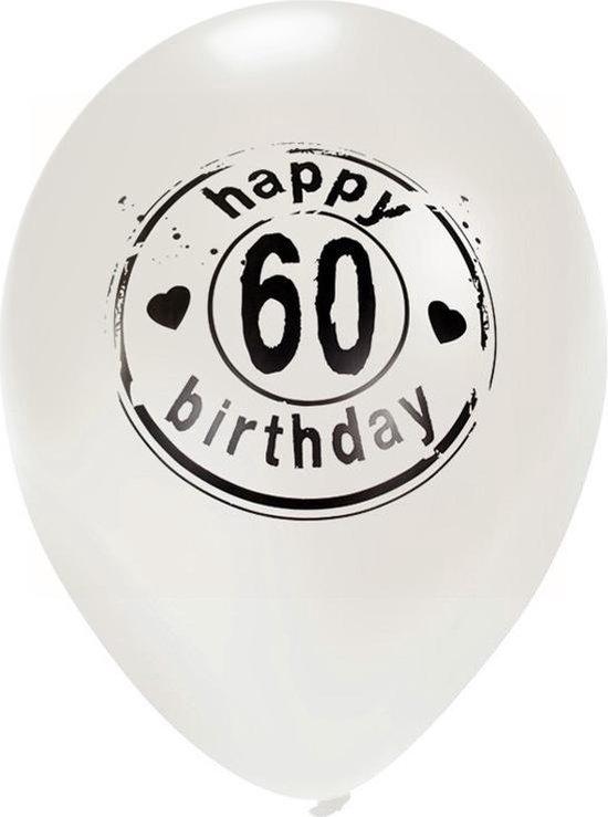 Ballon 'Happy 60 Birthday' Wit - 50 Centimeter