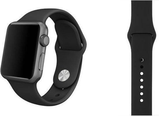Siliconen Band Voor Apple Watch Series 1/2/3/4/5 42 MM /44 MM - iWatch Armband Polsband Strap - Zwart