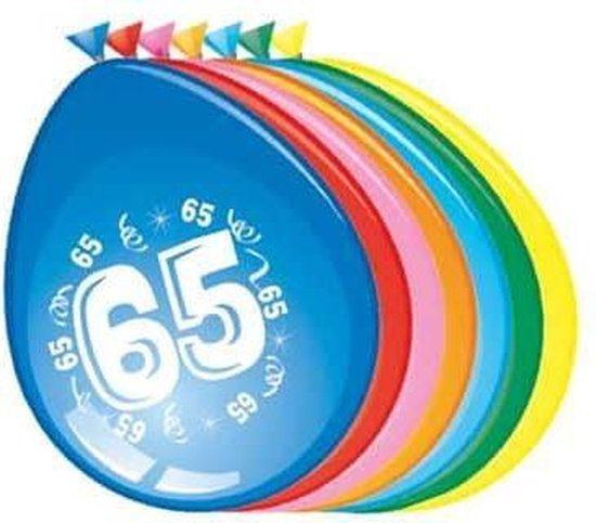 Ballonnen 65 jaar - 30cm - 8st