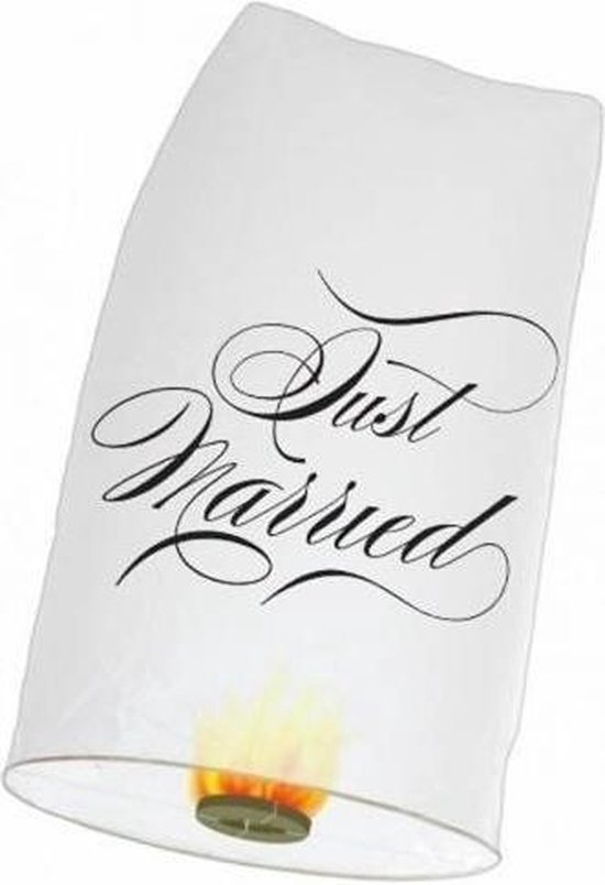 Witte Just Married wensballon XL 50 x 100 cm - Bruiloft/huwelijks sierballonnen