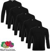 5 Fruit of the Loom Value Weight Longsleeve T-shirt zwart XL