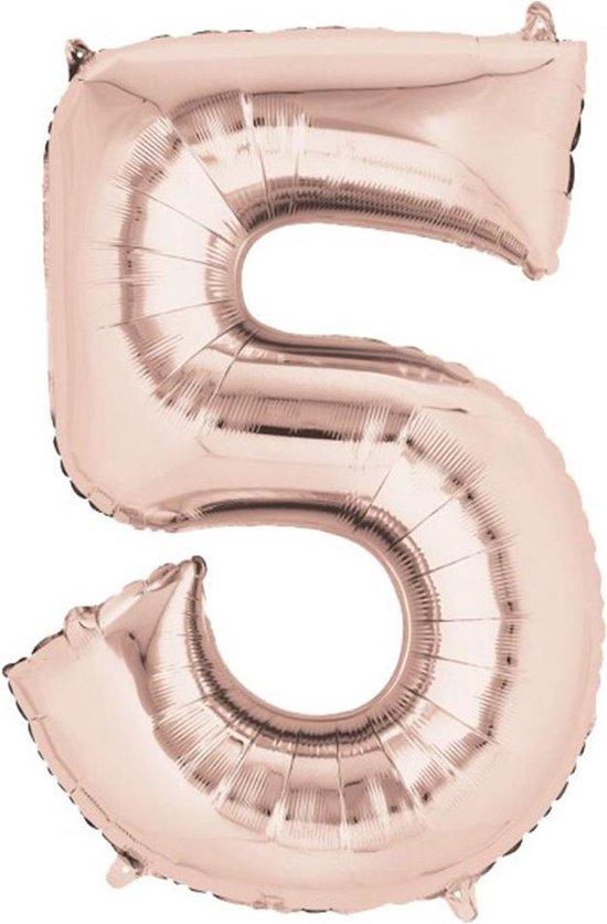 Folieballon cijfer 5 - Rosé goud 88 cm