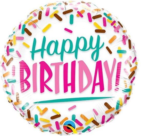 Folieballon - Happy birthday - 46cm - Zonder vulling