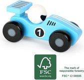Houten speelgoed auto - blauwe race auto - FSC - Auto speelgoed - houten speelgoed vanaf 18 maanden