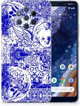 Silicone Back Case Nokia 9 PureView Angel Skull Blue