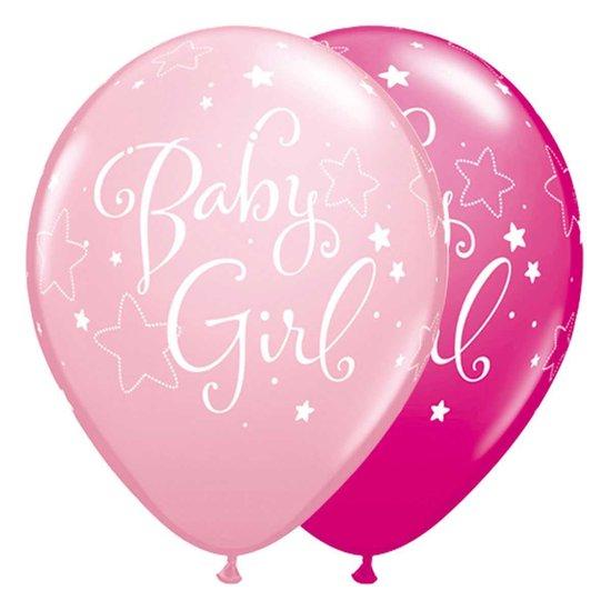 Ballonnen 'Baby Girl' Roze - 5 stuks
