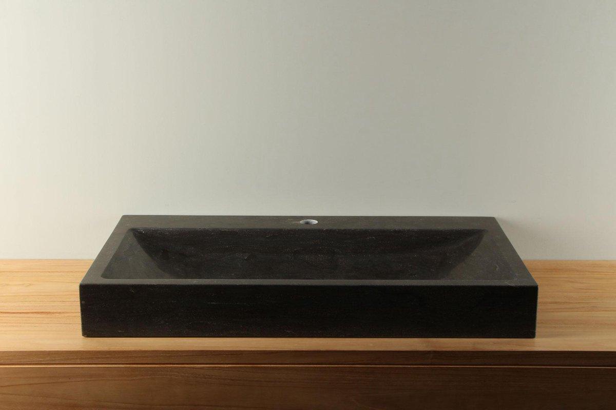 Chinees hardstenen wasbak / natuurstenen wastafel, BE-036 met kraangat, 10x45x80 cm