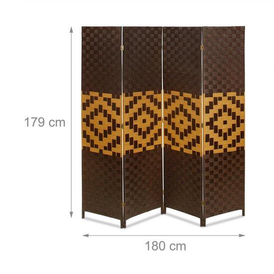 relaxdays - kamerscherm bamboe - scheidingswand - roomdivider - ruimteverdeler Grafisch patroon - Relaxdays