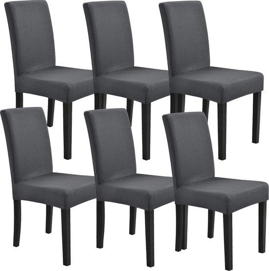 Stoelhoes set van 6 hoes voor stoelen stretch donkergrijs