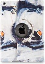 Apple iPad Hoes - 360° Draaibaar -  Voor de iPad 2, iPad 3 & iPad 4 - Kunst Abstract Artistiek 'Oranje en Grijs' - Uniek Design