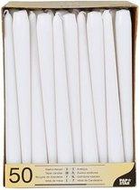 Voordeelverpakking witte dinerkaarsen/kandelaarkaarsen - Gotische kaarsen wit 50 stuks 25 cm - Tafel decoratie kaarsen