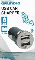Grundig USB Autolader | 2 Poorten | 2.4 Ampere | Autostekker | Car Charger | Telefoon en Tablet Opladen Auto | 2 x USB