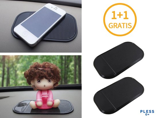 1+1 Gratis Auto Anti Slip Mat Sticky Pad - Dashboard Anti-slip Grip Matje - Autohouder Smartphone Telefoon Munten Houder - Antislipmat Zwart - Pless®