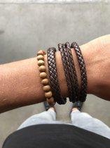 Joboly Stoere multilayer mannen / heren armband set gevlochten kralen - Heren - Bruin - 22 cm