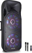 Fenton FT215LED dubbele 15 inch karaoke speaker 1600W met draadloze microfoons