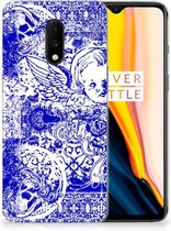 Silicone Back Case OnePlus 7 Angel Skull Blue