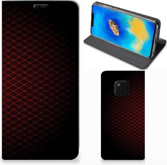 Huawei Mate 20 Pro Hoesje met Magneet Geruit Rood