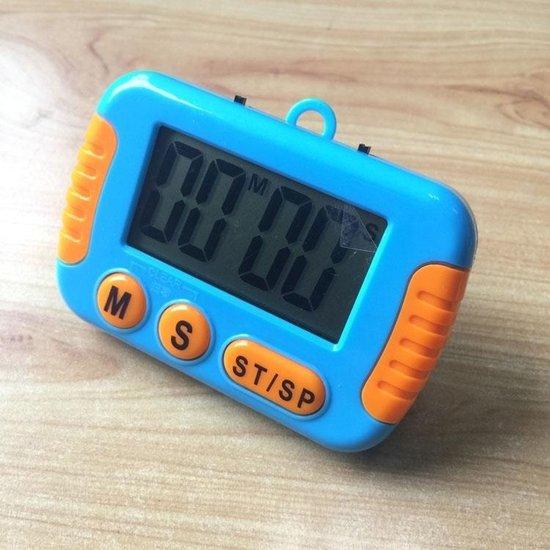 Keuken timer digitaal elektronisch luid alarm met LCD-display voor koken bakken sport games Office (blauw)