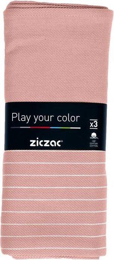Ziczac - Keukenhanddoek 50*70 cm, set 3, check, stripe pink
