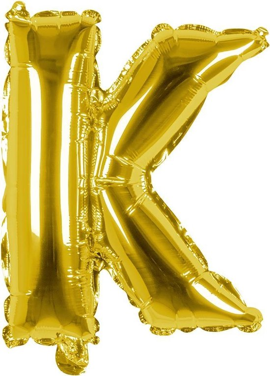 Boland Folieballon Letter K 36 Cm Goud