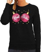 Foute kersttrui / sweater zwart met roze Kerst Ballen borsten voor dames - kerstkleding / christmas outfit M (38)