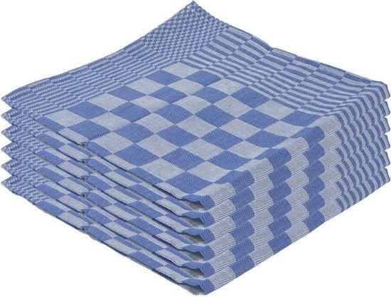 6x Theedoek blauw met blokmotief 65 x 65 cm - Huishoudtextiel - Afdroogdoek / keukendoek / vaatdoek