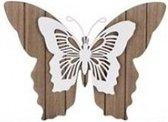 1x Tuindecoratie bruin/witte houten vlinders 28 cm - Tuinvlinders