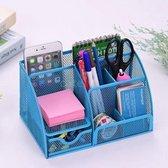 Pennenbak met 6 vakken en 1 schuiflade voor pennen, potloden, notitieblok / post it en paperclips etc - Mesh bureau organizer - pennenbakje van metaal / gaas - pennenhouder - bureau organizer Kleur: Blauw – Decopatent®