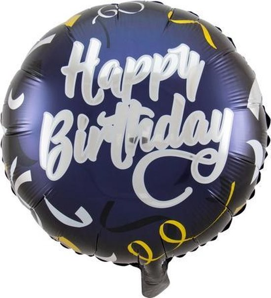 Folie cadeau sturen helium gevulde ballon Gefeliciteerd/Happy Birthday donkerblauw 45 cm - Folieballon verjaardag versturen/verzenden