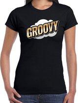 Fout Groovy t-shirt in 3D effect zwart voor dames - fout fun tekst shirt / outfit - popart M