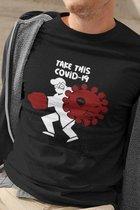 Corona Covid-19 Motivational Shirt Positive Vibes     Nederland zorgt voor elkaar   Samen sterk   Handen Wassen   Take This Virus!   Comic    Unisex Maat XL