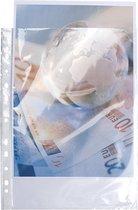 10x Pak van 10 geperforeerde showtassen- gladde PP 9/100ste - 24x32cm, Transparant