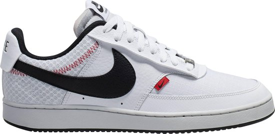 Nike Court Vision Low Premium Heren Sneakers - White/Black-Photon Dust-Gym Red - Maat 45