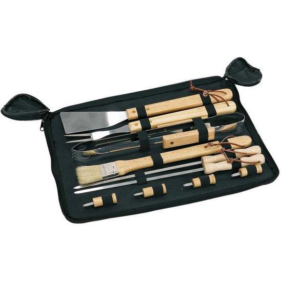 Barbecue gereedschap set RVS met houten handgrepen 10 delig