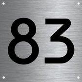 RVS huisnummer 12x12cm nummer 83