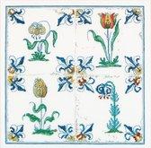 Thea Gouverneur - Borduurpakket met telpatroon - 485 - Voorgesorteerde DMC Garens - Delfts Blauwe Tegels Bloemen - Linnen - 28 cm x 28 cm - DIY Kit