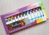 Watercolour Paint - Waterkleur Verf  - Aquarel Verf - 12 x 12 ml - Verfset - Inclusief Rheme Liniaal