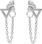 Karma Chain Open Triangle Silver Oorbellen M1829