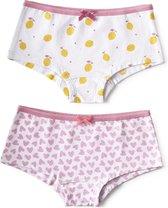 Little Label - meisjes - onderbroek - 2 stuks - wit citroenen, roze hartjes - maat 134/140 - bio-katoen