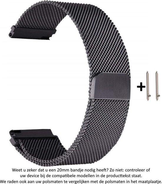 Zwart Milanees Stalen horloge Bandje voor 20mm Smartwatches (zie compatibele modellen) van Samsung, Pebble, Garmin, Huawei, Moto, Ticwatch, Citizen en Q – Pride – 20 mm black milanese smartwatch strap - Gear S2