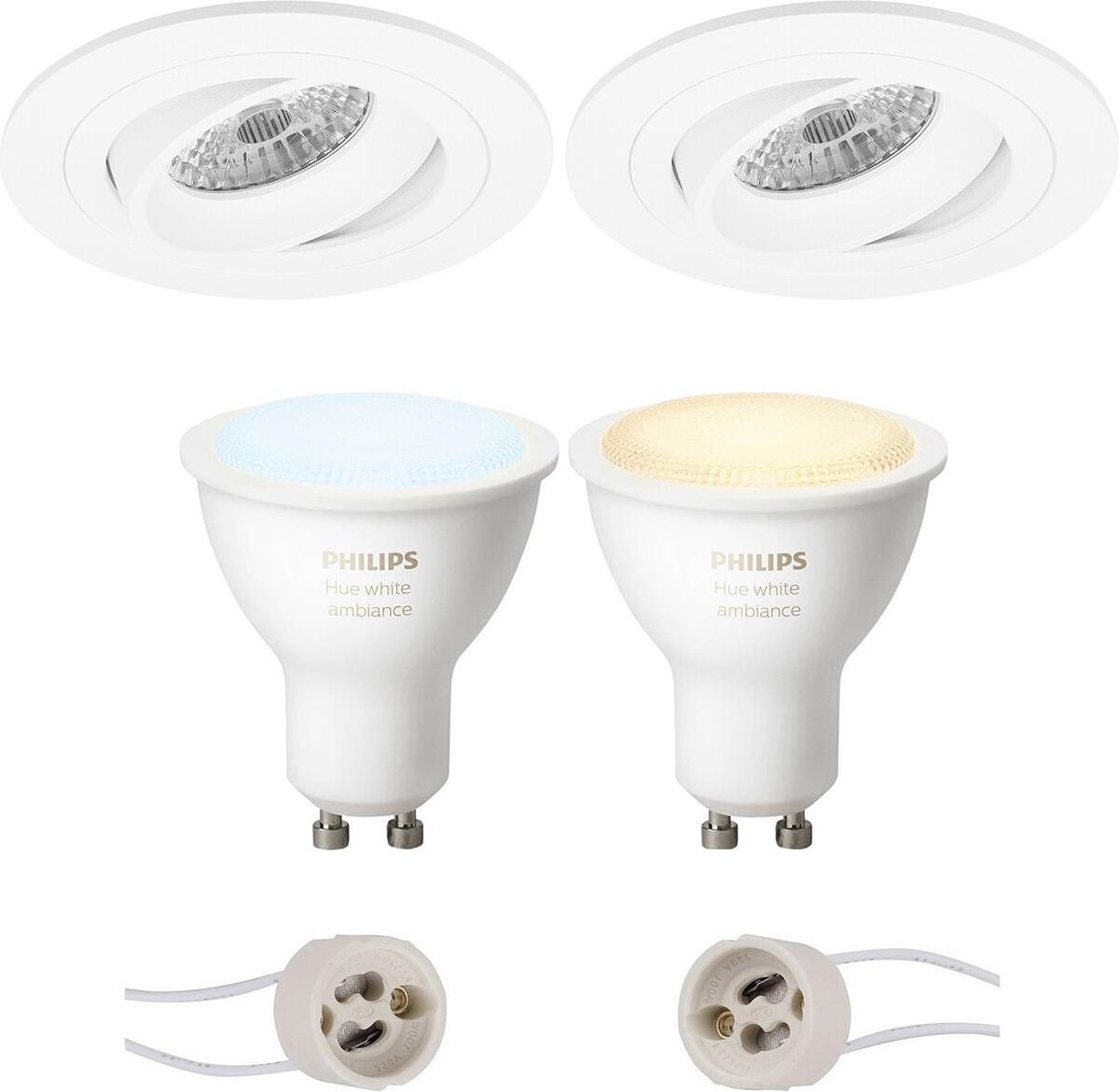 PHILIPS HUE - LED Spot Set GU10 - White Ambiance - Bluetooth - Proma Alpin Pro - Inbouw Rond - Mat Wit - Kantelbaar Ø92mm