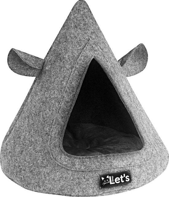 Let's Sleep Pet Cave TeePee - Kattenmand - grijs